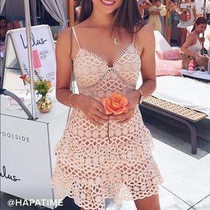 """Lulus """"Beauty and Lace"""" blush lace crochet dress"""